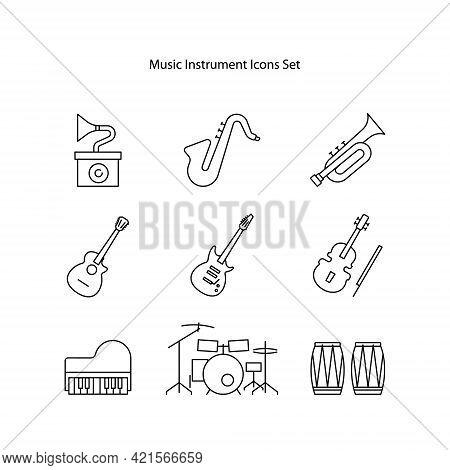 Set Musical Instrument Vector Illustration Isolated On White Background, Set Musical Instrument Icon