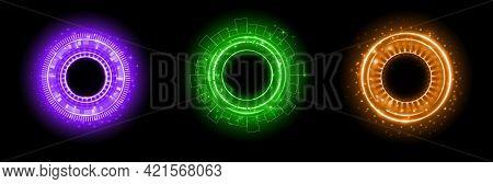 Set Of Color Hologram Portal. Magic Fantasy Portal. Magic Circle With Halo Effect. Vector Color Glow