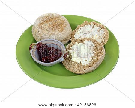 Whole Grain English Muffins Buttered