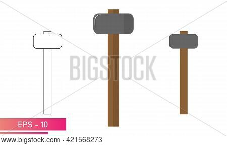 A Set Of Sledgehammers, With Rounded And Smooth Shapes. Realistic And Linear Design. On A White Back