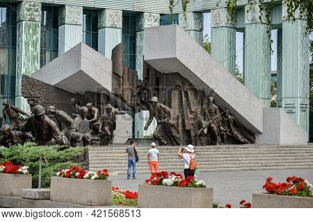 Warsaw. Poland - August 2015: Monument To The Warsaw Uprising 1 August 1944 - 2 October 1944, At Kra