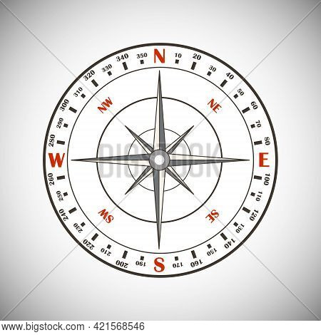 Compass Icon. Compass Isolated On White Background. Vector Illustration. Vector.