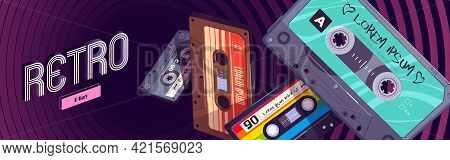 Retro Mixtapes Cartoon Web Banner With Audio Mix Tapes Falling Into Hypnotic Pattern. Cassettes, Med