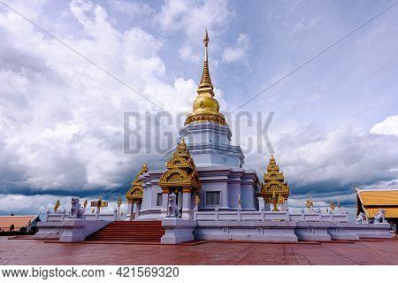 Phra Maha Chedi Thepnimittham At Phra That Santitham Temple In Village Mae Salong Nok, Chiang Rai Pr