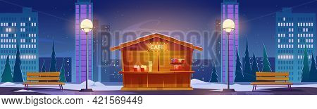 Street Fastfood Cafe At Winter Night Cityscape Background With Skyscrapers. Outdoor Cafeteria Wooden
