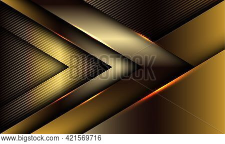 Abstract Golden Arrow Glossy Shadow Direction On Lines Texture Luxury Style Futuristic Technology Ba