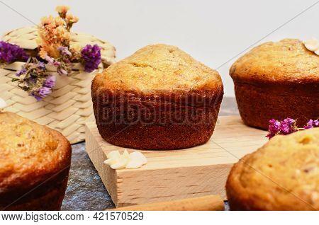 Beautiful Homemade Banana Cupcakes. Delicious Homemade Desserts.