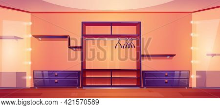 Modern Walk In Closet With Wardrobe Shelves For Clothes And Shoes, Hangers For Dresses And Big Mirro