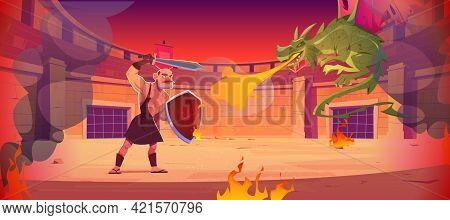 Ancient Warrior Fights Against Dragon On Arena. Fighting Amphitheater With Gladiator With Sword And