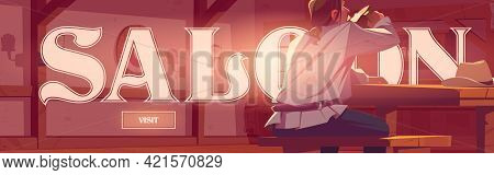 Saloon Poster With Pub Interior And Man Drinks Beer. Invitation Banner To Vintage Tavern. Vector Fly