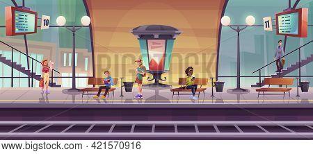 People Waiting Train On Indoor Railway Station Platform, Passengers In Modern Subway With Billboard,