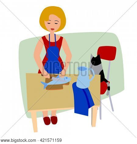 Funny comic woman cleans the fish with a knife on the kitchen table isolated on white. Drawing in flat style