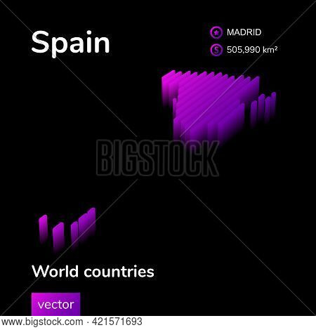 Stylized Neon Digital Isometric Striped Vector Spain Map With 3d Effect. Map Of Spain Is In Violet