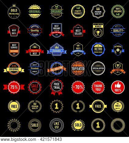 Various Badges With Text And Logo Labels
