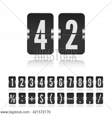 Flip Numbers Font For Time Counter Information Page. Vintage Symbols Time Meter Vector Template. Ana