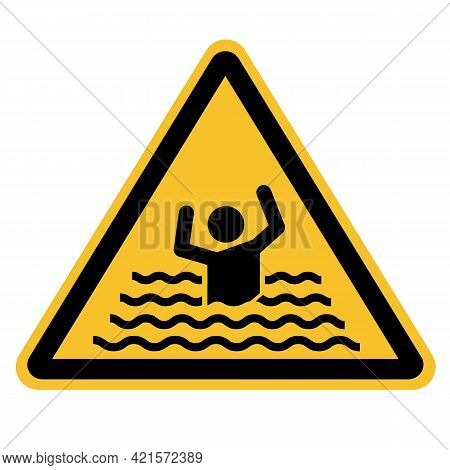 Swim Forbidden Icon On White Background. Beware Of Drowning Sign. Drowning Warning Sign. Flood Warni