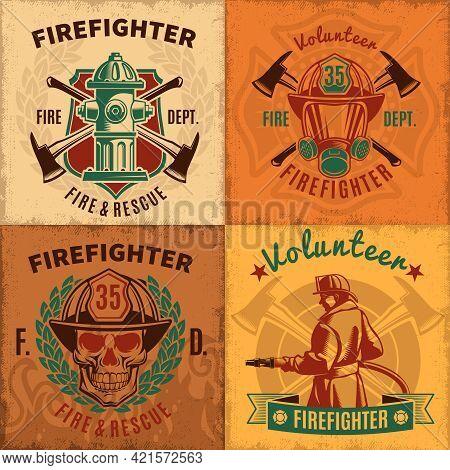 Vintage Firefighting Emblems Set With Fireman Skull Helmet Mask Hydrant And Crossed Axes Vector Illu