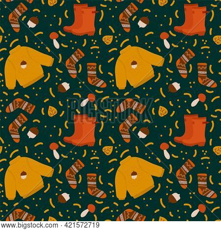 Autumn Background With Boots And Casts. Autumn Pattern For Textile Leaves, Sweaters, Mushrooms, Acor