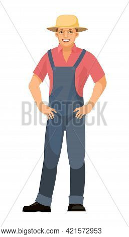 Farmer Guy Is Standing. Young Handsome Cute Boy Wearing Hat. Hands On Hips. Luck, Quality. In Unifor