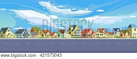 Street In A Cheerful Cartoon Flat Style. Asphalt Wide Road. A Village Or A Small Rural Town. Small H