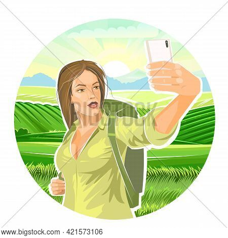 Selfie. Beautiful Girl Tourist. Backpack. Against Backdrop Of Rural Landscape With Mountains, Meadow