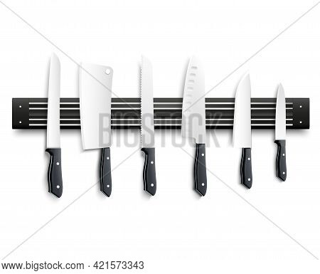 Variety Of Kitchen Knives With Black Handle On Magnetic Strip On White Background 3d Vector Illustra