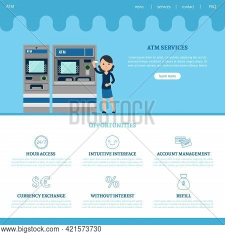 Bank Landing Page Template With Web Elements Services And Different Advantages In Flat Style Vector