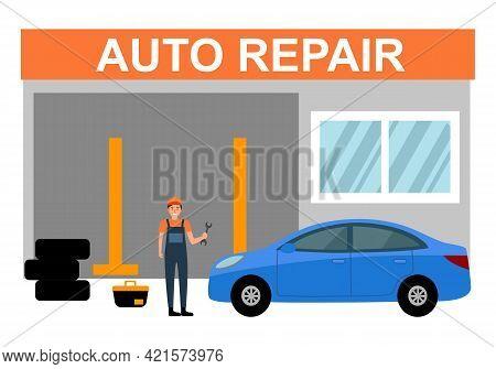Car Repair Auto Service Concept Vector Illustration. Car Mechanics In Uniform Finish Fixing Car In F