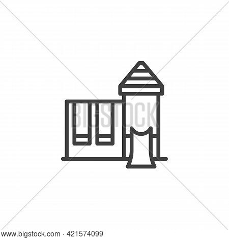Playground With Swing Line Icon. Linear Style Sign For Mobile Concept And Web Design. Kids Playgroun