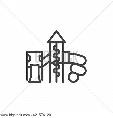 Slide Playground Line Icon. Linear Style Sign For Mobile Concept And Web Design. Children Playground