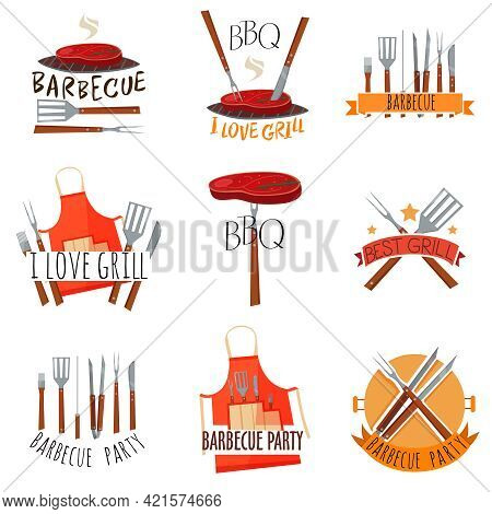 Colored Isolated Barbecue Party Label Set With Barbecue I Love Grill Barbeque Party And Other Descri