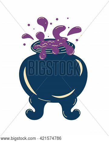 Witch Cauldron With Bubbling Liquid. Magic Potion. Symbol Of Witchcraft. Dark Boiling Cauldron. Trad