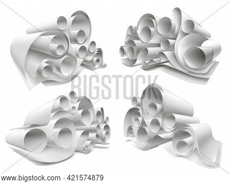 Set Of Paper Rolls From White Empty Sheets Folded In Twisted Structure 3d Mockup Isolated Vector Ill