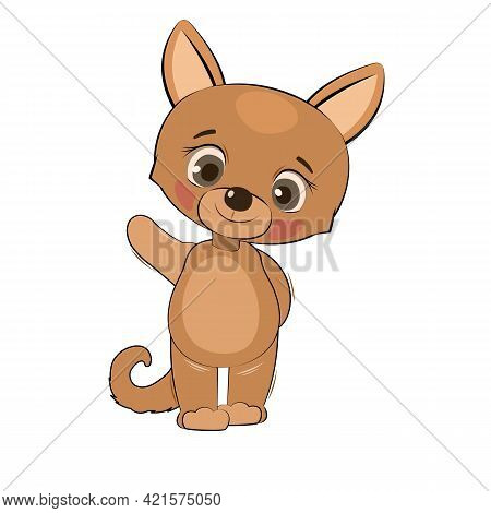 Little Cub Puppy. Dog. Isolated Object On White Background. Cheerful Kind Animal Child. Cartoons Fla