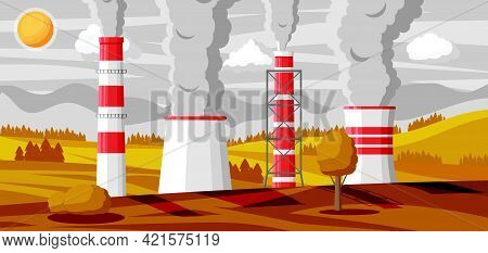 Panoramic Industrial Landscape. Smoking Factory Pipes In Fields. Plant Pipes Sky Sun. Carbon Dioxide