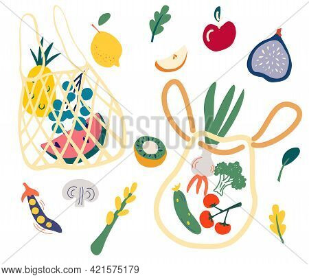 Net Bag With Food. Set Of Trendy Eco Shopper With Fruits, Vegetables. Reusable Textile Shopping Bags