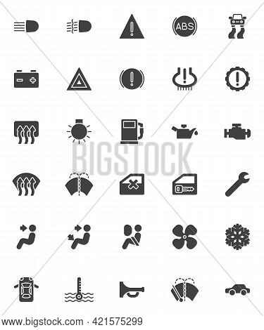 Vehicle Dashboard Vector Icons Set, Modern Solid Symbol Collection, Filled Style Pictogram Pack. Sig