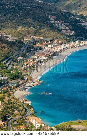 Aerial view of the sicilian coastline as seen from Taormina, province of Messina, Sicily, southern Italy.