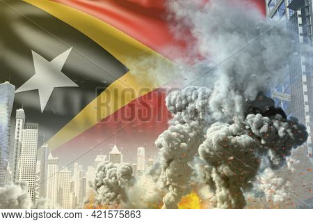Huge Smoke Pillar With Fire In Abstract City - Concept Of Industrial Blast Or Terroristic Act On Tim