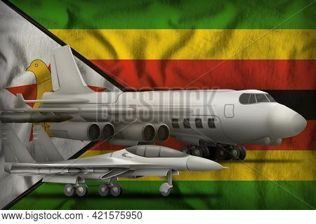 Air Forces On The Zimbabwe Flag Background. Zimbabwe Air Forces Concept. 3d Illustration
