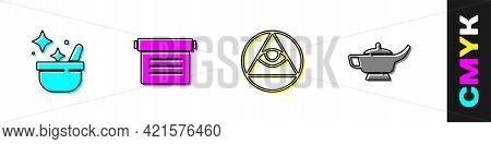 Set Witch Cauldron, Ancient Magic Book, Masons And Magic Lamp Or Aladdin Icon. Vector