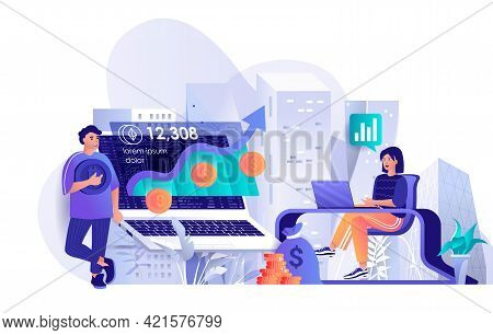 Cryptocurrency Investment Concept In Flat Design. Profitable Investment In Digital Money Mining Scen