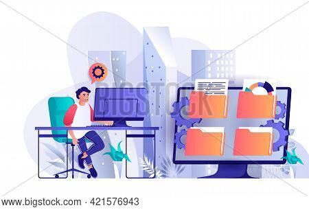 Cyberspace Management Concept In Flat Design. Operations, Organization And Control System Scene Temp