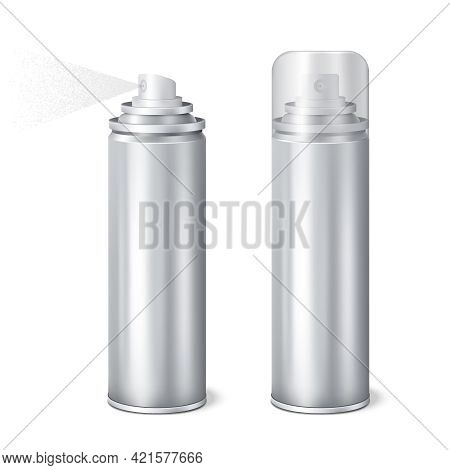 Aluminium Aerosol 2 Shining Realistic Mockup Cans Templates Set With Cap On And Removed Spraying Vec