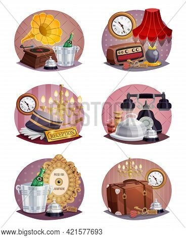 Colored Vintage Hotel Round Poster Set With Luggage Reception Card Ring Key Phone And Other Elements