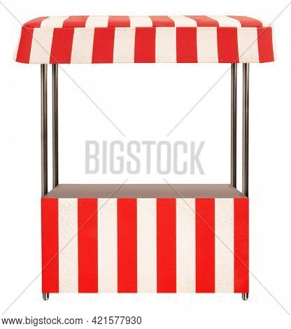 Street market stand stall with red white striped awning and metal pillars isolated on white background. Small business concept