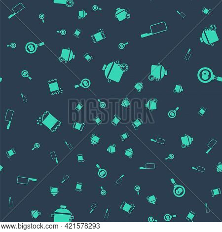 Set Cooking Pot, Saucepan, Packet Of Pepper And Fried Eggs On Frying On Seamless Pattern. Vector