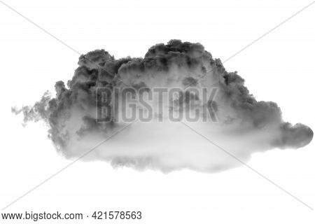 Collections Of Separate White Clouds On A Black Background Have Real Clouds. White Cloud Isolated On