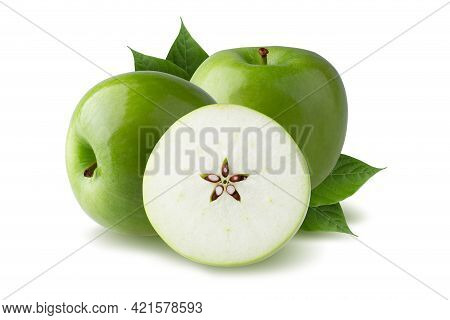 Green Apple With Green Leaf And Cut Slice With Seed Isolated On White Background.