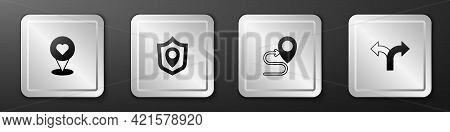 Set Location With Heart, Shield, Route Location And Road Traffic Sign Icon. Silver Square Button. Ve